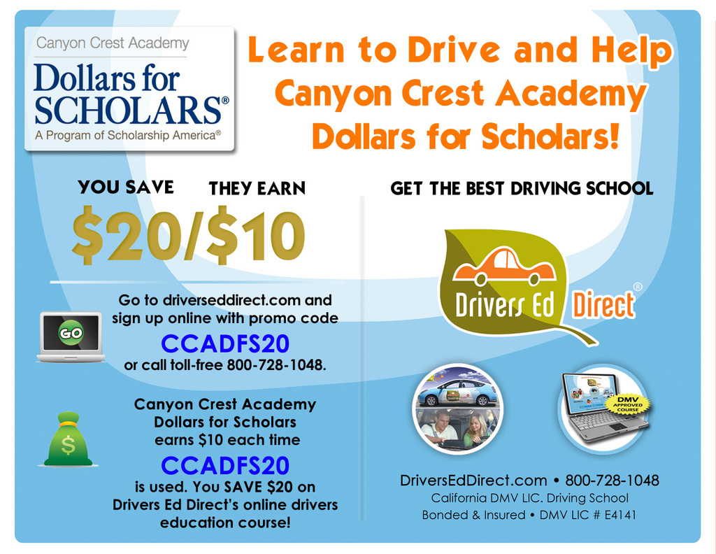 Drivers Ed Online >> Dollars For Scholars Canyon Crest Academy Dollars For Scholars